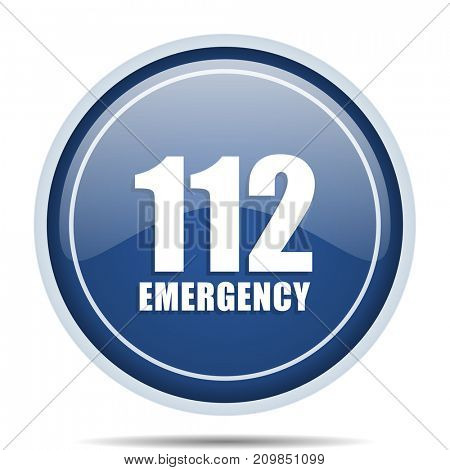Number emergency 112 blue round web icon. Circle isolated internet button for webdesign and smartphone applications.