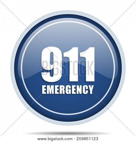 Number emergency 911 blue round web icon. Circle isolated internet button for webdesign and smartphone applications.