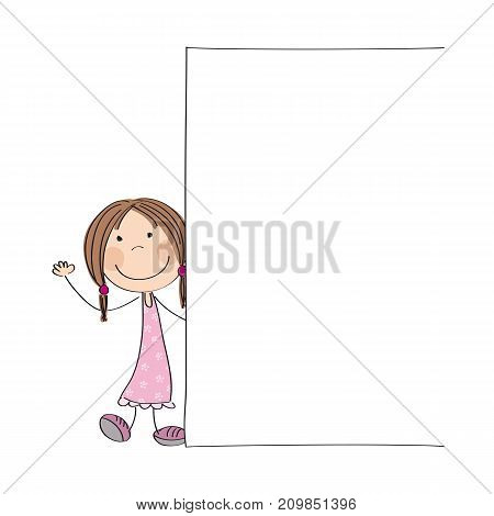 Happy little girl standing behind blank banner / board - space for your text on white background - original hand drawn illustration