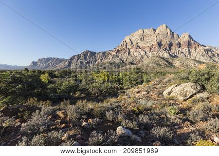 View of Mt Wilson at Red Rock Canyon National Conservation Area in Southern Nevada.