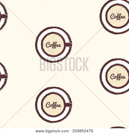 Seamless vector pattern with cup of coffee. Creative background for cafe menu of restaurant wrapping paper. EPS10. Can be used as print on t-shirt.