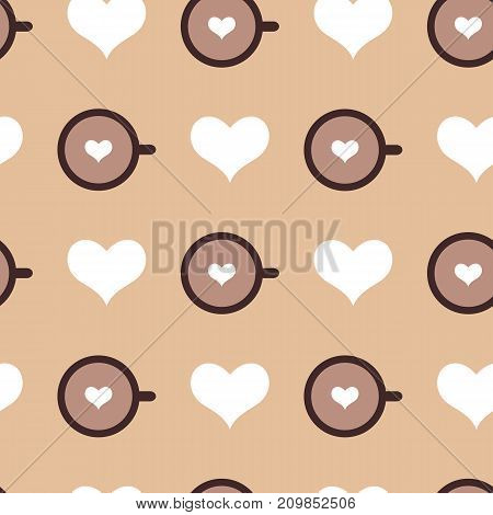 Vector seamless pattern with caramel backdrop cups of coffee and white hearts. Creative background for cafe menu of restaurant wrapping paper. EPS10. Can be used as print on t-shirt.