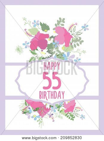 Greeting card for anniversary birthday. Flower composition to a celebratory event. Vector illustration