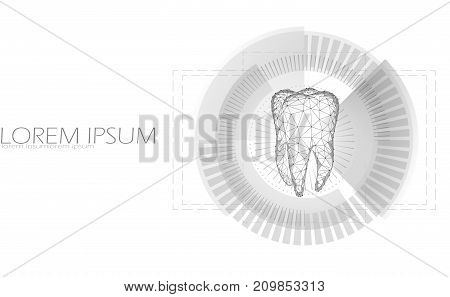 Low poly tooth four root in hud aim display. Thearment medicine target business concept polygonal gray white color abstract background. Connected dot geometric particle medicine vector illustration art