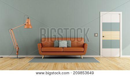Blue Living Room With Orange Sofa