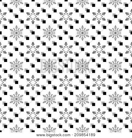 Snowflake in square seamless pattern. Fashion graphic background design. Modern stylish abstract texture. Monochrome template for prints textiles wrapping wallpaper. Vector illustration