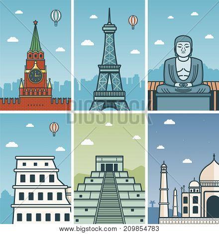 World Landmarks design with Cities skylines. Moscow, Paris, Kamakura, Rome, Chichen Itza and Agra cities skylines design with landmarks. Vector illustration