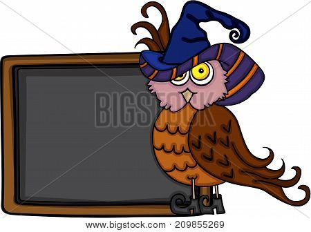 Scalable vectorial image representing a Halloween owl with chalkboard, isolated on white.
