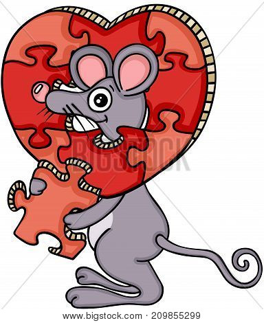 Scalable vectorial image representing a mouse with heart shaped puzzle, isolated on white.