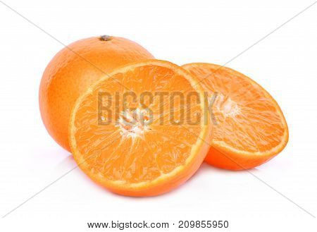 whole and half of mandarin oranges isolated on white background