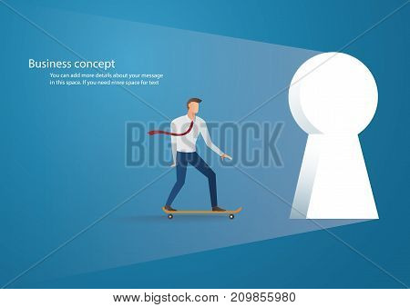 Business concept illustration of a businessman skating into keyhole