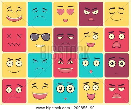 Emoticons set, emoji isolated on white background. Emoticon for web site, chat, sms. Vector illustration