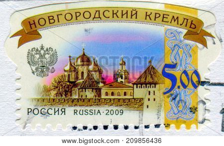 GOMEL, BELARUS, 13 OCTOBER 2017, Stamp printed in Russia shows image of the Novgorod kremlin, circa 2009.