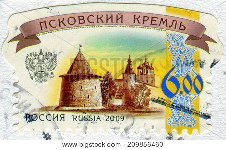 GOMEL, BELARUS, 13 OCTOBER 2017, Stamp printed in Russia shows image of the Pskov kremlin, circa 2009.