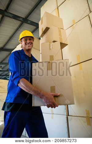 Portrait of worker holding a cardboard boxes while walking in olive factory