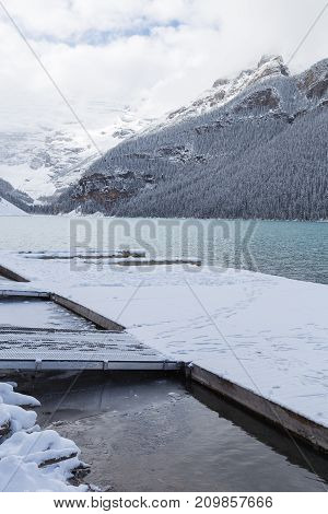 Dock on Lake Louise in Banff National Park Canada.