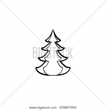 Christmas tree black sign. Silhouette design spruce on white background. Symbol of winter decoration. Christmas holiday season. Isolated design graphic element. Flat image. Vector illustration