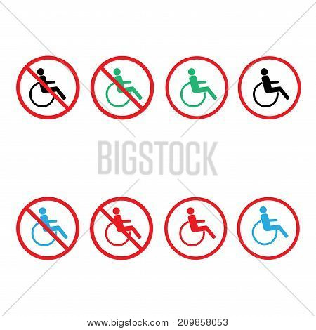 Disabled sign in circle set. Mark disability. Icon a place open passage. Symbol paralyzed and human on wheelchair. Safety person warning handicapped illustration. Design element. Vector illustration