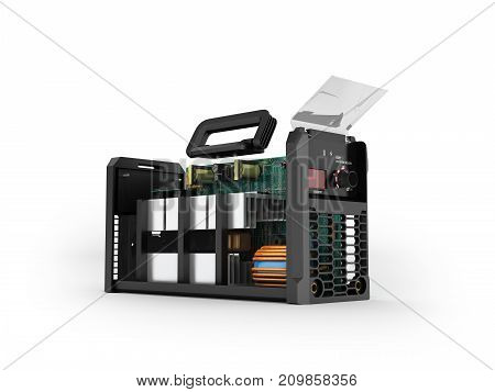 Inverter Welding Machine Disassembled In A 3D Render Section On A White Background