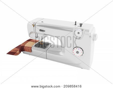 Modern Sewing Machine With Material For Seamstresses White Perspective 3D Render On A White Backgrou
