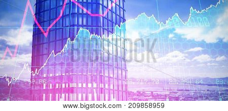 3d image of modern building  against stocks and shares