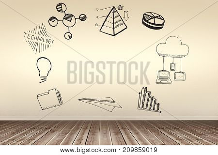 Composite image of computer icons on white background against room with wooden floor
