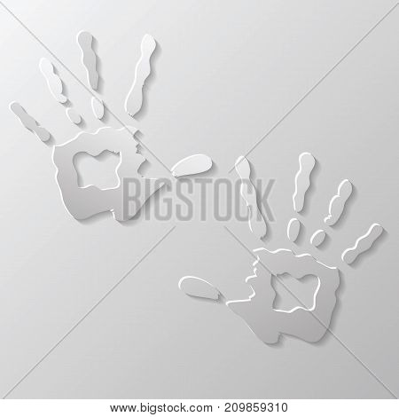 Two hands prints isolated on grey background