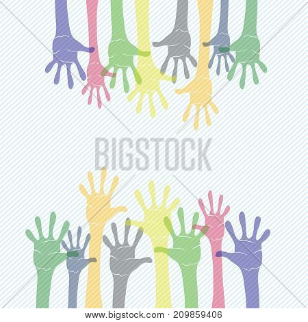 Set of colored hands on striped diagonal background
