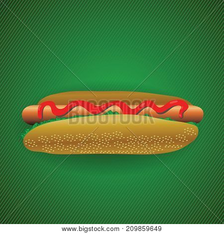 Fast food hot dog isolated on green diagonal background