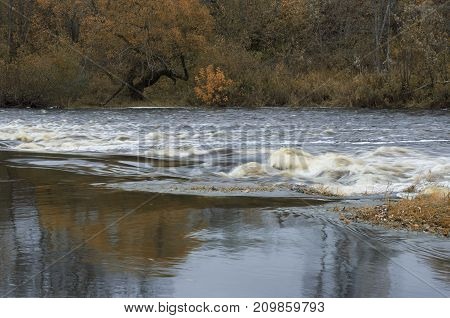 Rapid river flows and the faded brown wood on coast late fall
