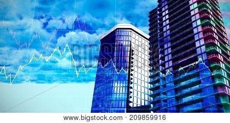 3d illustration of glass buildings against stocks and shares