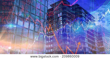 Vector image of 3d office buildings against stocks and shares
