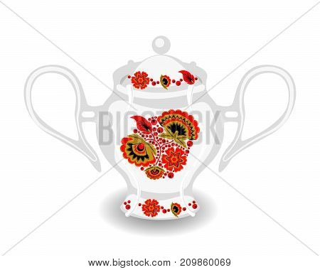 Vector sugar bowl with classic Russian khokhloma ornament. White ceramic object with hohloma style. Bowl from tea set.