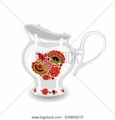 Vector pitcher with classic Russian khokhloma ornament. White ceramic object with hohloma style. Milk jug from tea set.