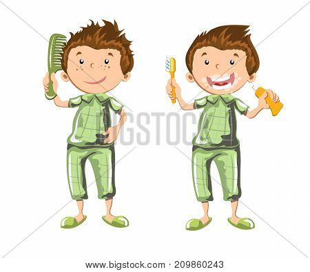 Boy brushing teeth and combed. Vector illustration