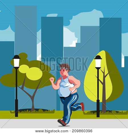 Fat man feeling run in park. Vector illustration