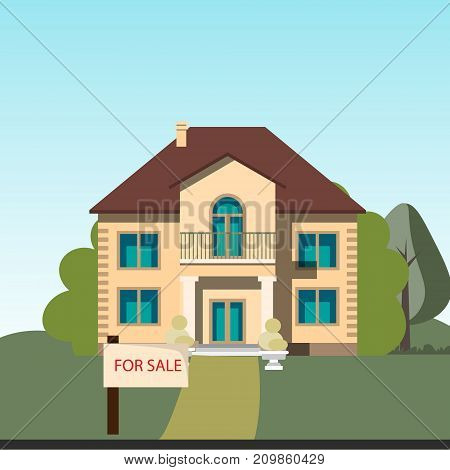 Home for sale. Color vector illustration flat