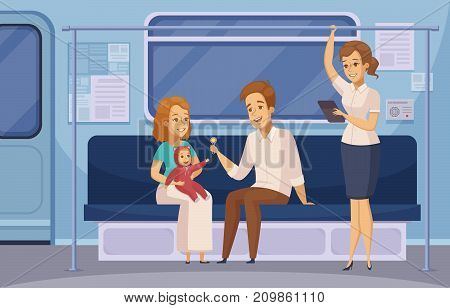 Subway passengers in underground metro train cartoon composition with family sitting and standing reading lady vector illustration