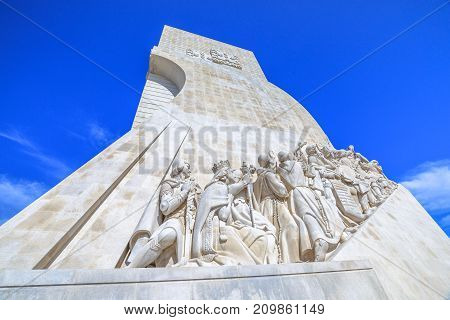 Lisbon, Portugal - August 24, 2017: Padrao dos Descobrimentos celebrates the Portuguese who took part in the Age of Discovery. The Discoveries Monument is a famous landmark in Belem district, Lisbon.