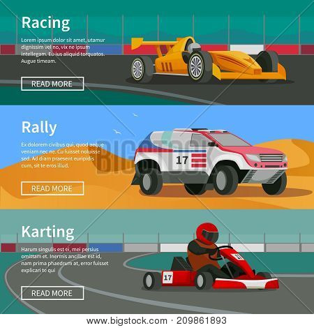 Racing flat banners set with rally and karting race tracks and cars with text and read more button vector illustration