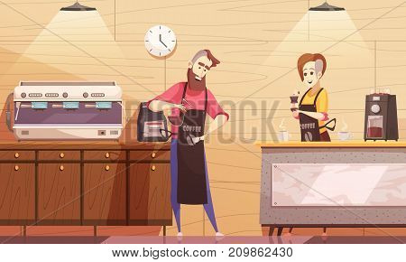 Coffee house vector illustration with barista and barmaid standing near coffee machine and holding brewed drink