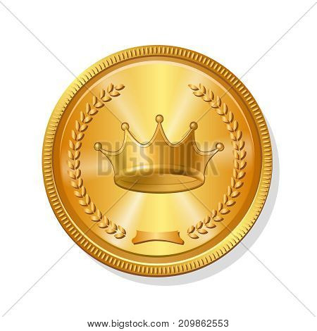 Gold coin icon realistic metal money illustration.