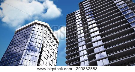 3d illustration of modern buildings against low angle view of white cloud against sky