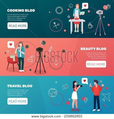 Bloggers people flat banners with human characters social web pictograms editable text and read more button vector illustration