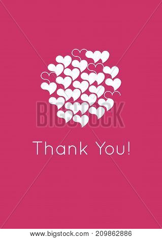 Thank you card design template. Simple greeting card elegant note label.