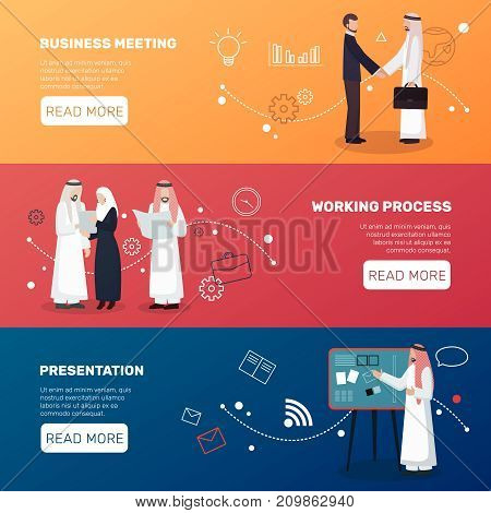 Arab business people three horizontal banners collection with intercultural cooperation images and pictograms with read more button vector illustration