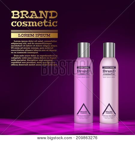 3D Realistic Cosmetic Bottle Ads Template. Cosmetic Brand Advertising Concept Design With Abstract G