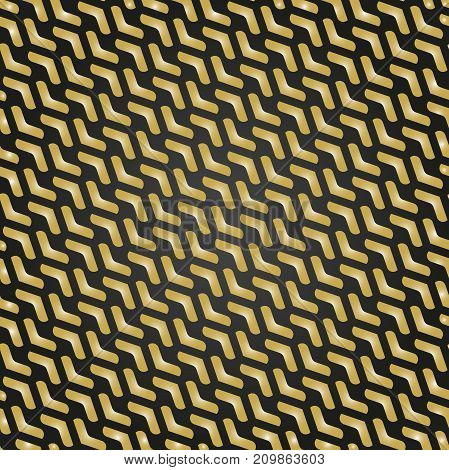Geometric pattern with golden arrows. Geometric modern ornament. Seamless abstract background