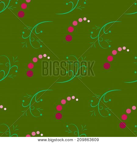 Twig and polka seamless pattern. Fashion graphic background design. Modern stylish abstract texture. Colorful template for prints textiles wrapping wallpaper. Design element. Vector illustration