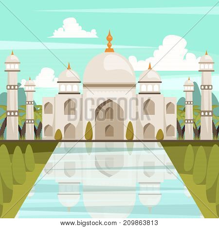 India orthogonal composition with building of taj mahal mausoleum reflected in water of marble pool flat vector illustration